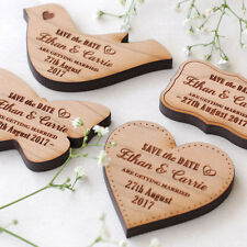 Wooden Save The Date Magnet Wood Wedding Vintage Heart Dove Butterfly Magnets