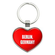 Metal Keychain Key Chain Ring I Love Heart City Country B