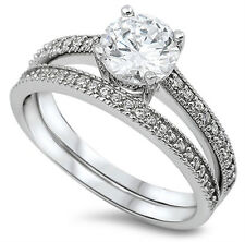 New 925 Sterling Silver Vintage Round CZ Engagement Ring Wedding Ring set