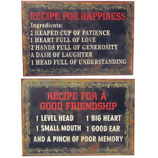 Retro Metal Tin Wall Hanging Plaque Décor - Recipe for Happiness / Friendship