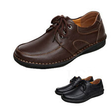 New Men formal Leather shoes Moccasin Driving Flats Casual Lace Up Comfortable