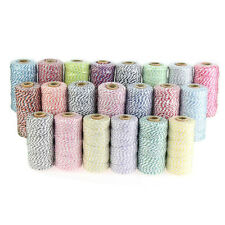 New 3ply Cotton Bakers Twine 109 Yard Spool Roll 1.2mm String 21 divine colours