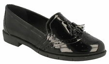 Spot On Ladies Black Moccasin Style Shoes 'F80122'