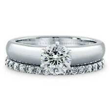 BERRICLE Sterling Silver Round CZ Solitaire Engagement Ring Set 1.25 Carat