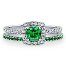 BERRICLE Silver Cushion Simulated Emerald CZ Halo Engagement Ring Set 0.89 Carat