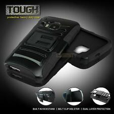 BLACK REFINED RUGGED HEAVY DUTY HYBRID CASE + BELT HOLSTER FOR VARIOUS PHONES