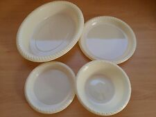 Ivory/Cream Plastic Re-usable Disposable Thermoformed Plates Bowls Party Cheap!