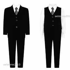 NEW BOYS SUIT - VELVET 5PC PAGE BOY BLACK SUIT WEDDING, PARTY, DINNER SUIT 1-15Y