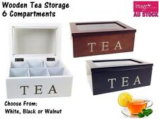 Elegant Rectangle 6 Compartments Wooden Tea Box with Glass Top Kitchenware