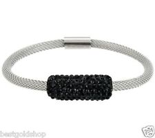 QVC Stainless Steel by Design Black Mesh Bracelet Crystal Accents