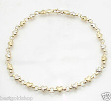 Heart Chain Anklet Ankle Bracelet Real 14K Yellow White Two-Tone Gold