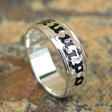 Hawaiian 925 Sterling Silver Black KUUIPO Jewelry Wedding Ring Band 6mm SR1066