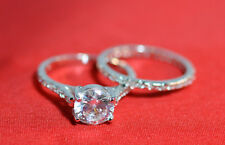 925 Sterling Silver Vintage Round CZ Engagement Ring Wedding Ring Set