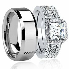New 4 Pcs Hers 925 Sterling Silver His Tungsten Sale Wedding Ring Band Set