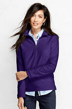 Lands End Women's ThermaCheck-100 Fleece Half-zip Pullover - Embossed New