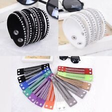 Fashion Women Multilayer Wrap Rivet Rhinestone Cuff Punk Wristband Bracelet Gift