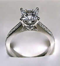 2.64Ct Princess Cut Engagement Ring with Optional Matching Band - 14K White Gold
