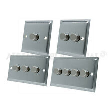 Slimline Satin Brushed Matt Chrome LED 250W Light Dimmer Switch 2 Way - 10 Amp