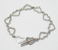 Open Heart Bracelet with Toggle Clasp Real 14K White Gold All Sizes Free Ship!