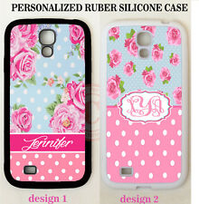 PINK POLKA DOTS BLUE VINTAGE ROSE MONOGRAM Case For Samsung Galaxy S5 S4 NOTE 4
