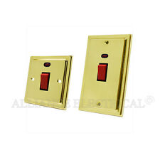 Victorian Polished Brass 45A Cooker Switch / 45 Amp Cooker Socket Control Unit