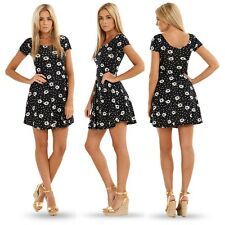 Fashion Women Pleated Floral Slim Short Sleeve Skater Party Black Mini Dress