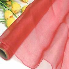 by the yard light weight 100% pure silk organza fabric material hot coral voile