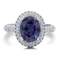 BERRICLE Sterling Silver Oval Cut Blue CZ Halo Fashion Right Hand Cocktail Ring
