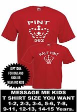 TWO PINT HALF PINT funny brothers sisters xmas birthday kids boys girls T SHIRTS
