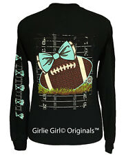 "Girlie Girl Originals ""Preppy Football"" Black Long Sleeve Unisex Fit T-Shirt"
