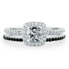 BERRICLE Sterling Silver Cushion Cut CZ Halo Stackable Ring Set