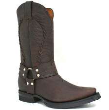 MENS GRINDERS COWBOY LEATHER BOOTS SIZE UK 6 - 12 WESTERN DARK BROWN GALVESTON