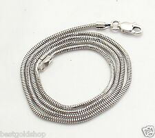 1.4mm Solid Round Snake Chain Necklace Real 14K White Gold ALL LENGTHS