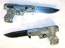 NEW CAMOUFLAGED POCKET GUN KNIFE collectible novelty knives pistol military 45