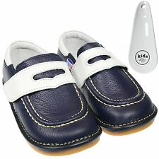 Boys Girls Toddler Childrens Leather Squeaky Shoes Navy Blue & White & Shoe Horn