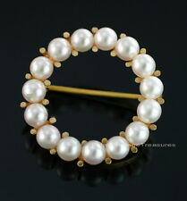 Vintage 14K Yellow Gold 15 Pearl Circle of Life Eternity Pin Signed FB 23mm