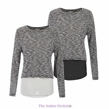 WOMENS NEW LADIES KNIT CHIFFON LAYERED DOUBLE BREASTED BACK JUMPER PULLOVER