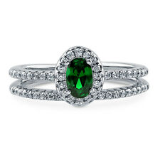BERRICLE Silver 0.695 Carat Oval Simulated Emerald CZ Halo Engagement Ring Set
