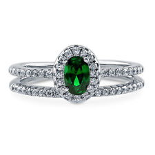 Silver Oval Simulated Emerald CZ Halo Promise Engagement Ring Set 0.695 CT