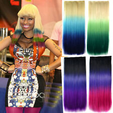 Long Straight Hair Piece 3 Colour Gradient Ombre Dip Dye Clip In Extensions New