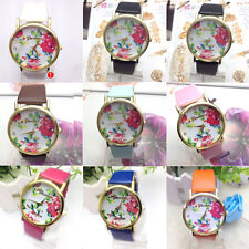 Fashion Women Faux Leather Rose Flower Dress Quartz Wrist Watches 2*1.3*3.8cm