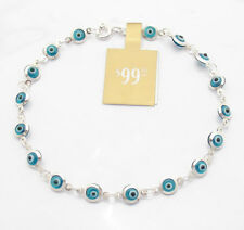 Ocean Blue Protective Baby Evil Eye Luck Bracelet Genuine 925 Sterling Silver