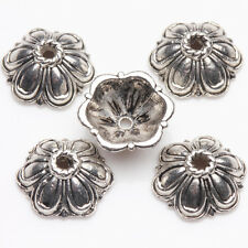 15/30Pcs Tibetan Silver Plated Flower Shape Spacer Bead Caps Crafts DIY 11*5mm