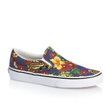 Vans Classic Slip On (Aloha) Dress Blues Women's Hawaii Floral Casual Shoes