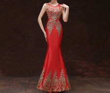 Sexy Mermaid Party Dress Gold Applique Prom Formal Wedding Evening Pageant Gown