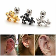 2pcs 16G Fleur De Lis Upper Cartilage Helix Auricle Piercing Ear Studs Earring