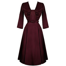 Hell Bunny Burgundy Satin Flared 1940s Vintage Wartime Party Evening Dance Dress