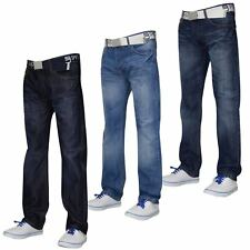 Mens Designer Smith & Jones Jeans Free Belt Denim Furio Straight Cut Pants