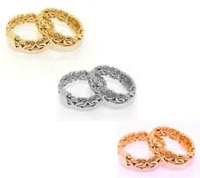 Textured Byzantine Band Ring Yellow White Rose Gold 14K Size Color Selectable