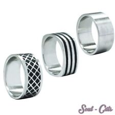 One Ring Stainless Steel Silver timeless pattern plain black